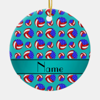 Personalized name turquoise american volleyballs ceramic ornament