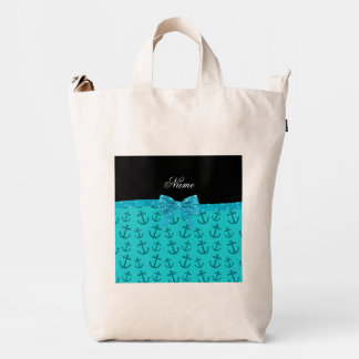 Personalized name turquoise anchors glitter bow duck canvas bag