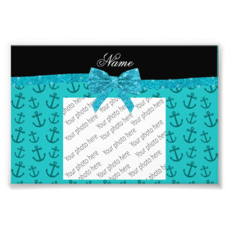 Personalized name turquoise anchors glitter bow photographic print