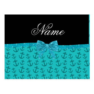Personalized name turquoise anchors glitter bow post cards