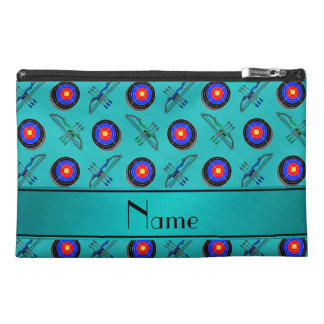 Personalized name turquoise archery travel accessories bag