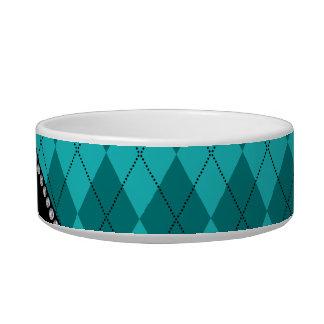 Personalized name turquoise argyle pet bowls