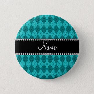 Personalized name turquoise argyle pinback button