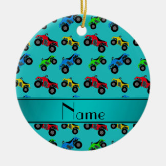 Personalized name turquoise atv pattern ceramic ornament