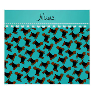 Personalized name turquoise australian terrier dog poster