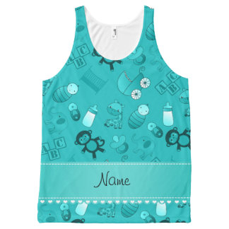 Personalized name turquoise baby animals All-Over print tank top