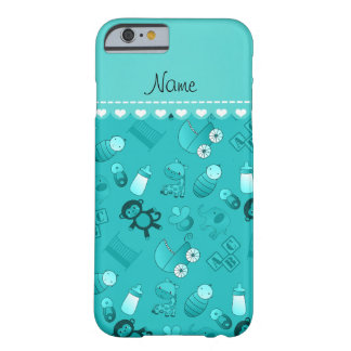 Personalized name turquoise baby animals barely there iPhone 6 case