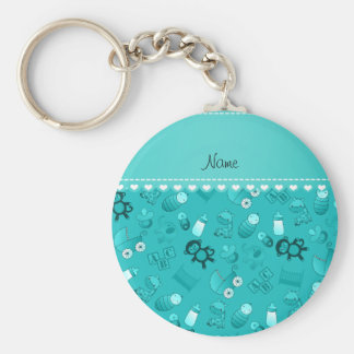 Personalized name turquoise baby animals basic round button keychain