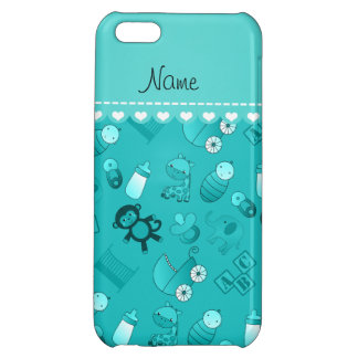 Personalized name turquoise baby animals iPhone 5C case