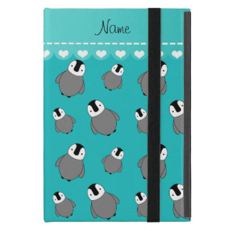 Personalized name turquoise baby penguins cover for iPad mini