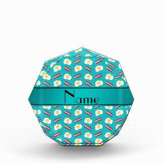 Personalized name turquoise bacon eggs acrylic award