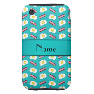 Personalized name turquoise bacon eggs tough iPhone 3 case