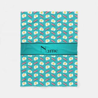 Personalized name turquoise bacon eggs fleece blanket