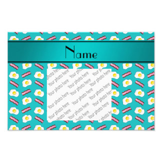 Personalized name turquoise bacon eggs photograph