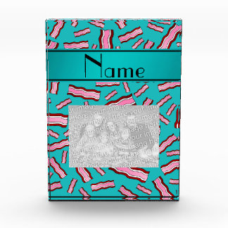Personalized name turquoise bacon pattern awards
