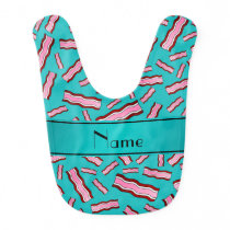 Personalized name turquoise bacon pattern bib