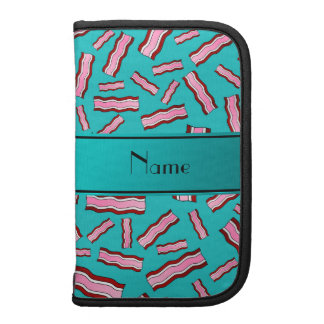 Personalized name turquoise bacon pattern planner