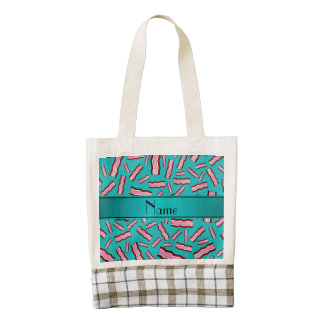Personalized name turquoise bacon pattern zazzle HEART tote bag