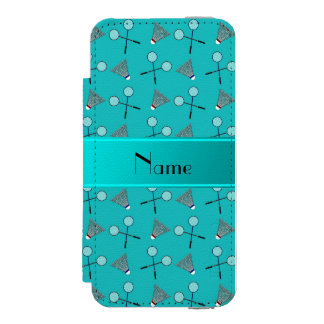 Personalized name turquoise badminton incipio watson™ iPhone 5 wallet case