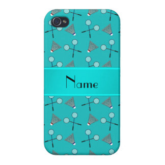 Personalized name turquoise badminton pattern case for iPhone 4
