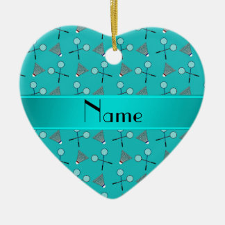 Personalized name turquoise badminton pattern ceramic ornament