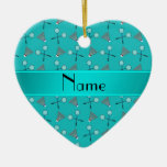 Personalized name turquoise badminton pattern christmas ornaments