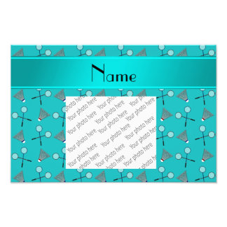 Personalized name turquoise badminton pattern photo print