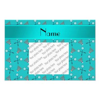 Personalized name turquoise badminton pattern art photo