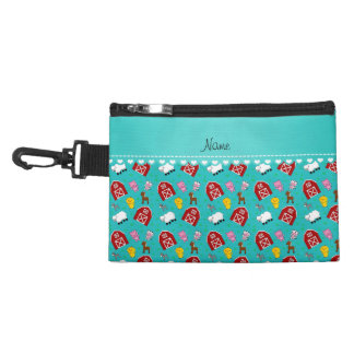 Personalized name turquoise barn animals accessory bag