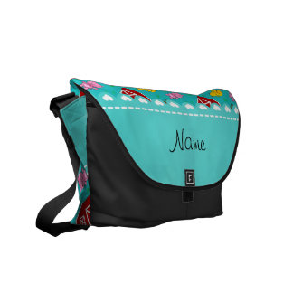 Personalized name turquoise barn animals messenger bag