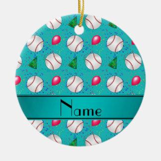 Personalized name turquoise baseball birthday ceramic ornament