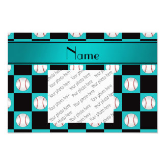 Personalized name turquoise baseball checkers photo