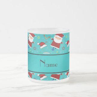 Personalized name turquoise baseball christmas 10 oz frosted glass coffee mug