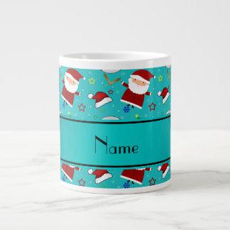 Personalized name turquoise baseball christmas 20 oz large ceramic coffee mug