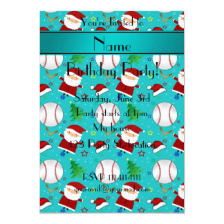 Personalized name turquoise baseball christmas 5x7 paper invitation card