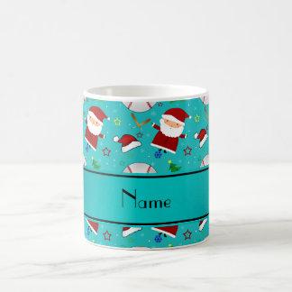Personalized name turquoise baseball christmas classic white coffee mug