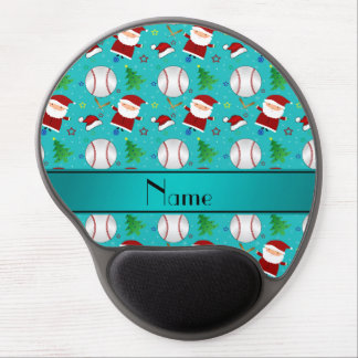 Personalized name turquoise baseball christmas gel mouse pad