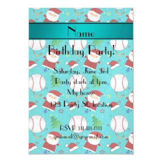 Personalized name turquoise baseball christmas magnetic invitations