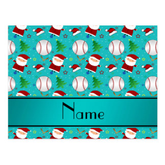 Personalized name turquoise baseball christmas post cards