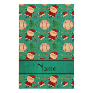 Personalized name turquoise baseball christmas cork paper