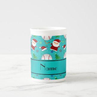Personalized name turquoise baseball christmas tea cup