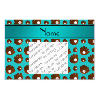 Personalized name turquoise baseball gloves balls photo print