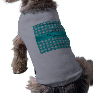Personalized name turquoise baseballs pattern dog clothes