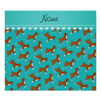 Personalized name turquoise basenji dogs poster