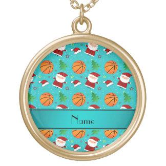 Personalized name turquoise basketball christmas custom necklace