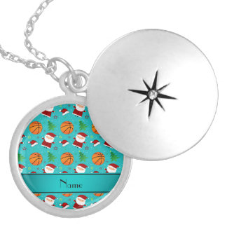 Personalized name turquoise basketball christmas necklace