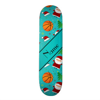 Personalized name turquoise basketball christmas skate board