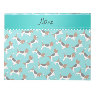 Personalized name turquoise basset hound dogs notepad