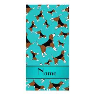 Personalized name turquoise beagle dog pattern photo card