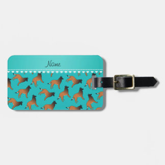 Personalized name turquoise belgian tervuren dogs luggage tag